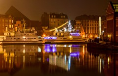 Gdańsk (adenkis) Tags: city night ship water mirrorreflections boat building sky