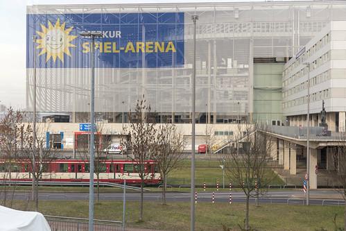 View over train on football stadium Merkur Spiel Arena in Dusseldorf, Germany