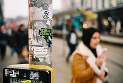 A post about climate change (Mister Oy) Tags: voigtlander bessa r3m 35mm film ishootfilm post bokeh manchester streetphotography crossing pedestrian climatechange sticker