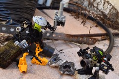 Mining Operation (mrjustin412) Tags: lego bionicle outdoors outside nature custom moc rust metal bar rebar bag wood plants rock brick stone crystal drill