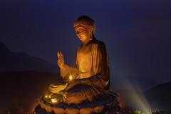 Golden Buddha (3dgor 加農炮) Tags: hongkong hk buddha bigbuddha lantauisland drone mavic2pro night