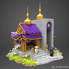 Long Hao Temple (jaapxaap) Tags: lego moc by afol jaapxaap temple dragon purple gold green curves roof technique culture asian chinese fantasy history art brick contest
