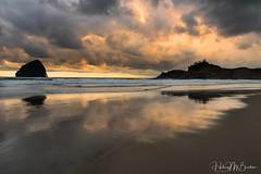 Cloudy reflection (Hilary Bralove) Tags: clouds reflection oregoncoast oregon pacificnorthwest pacific ocean sunset seascape landscape beach nikon colorful
