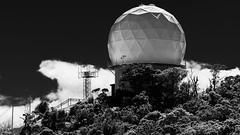 Radar (Ron Scubadiver's Wild Life) Tags: sky hill tree dome cloud landscape architecture kauai hawaii monochrome blackandwhite tamron 100400