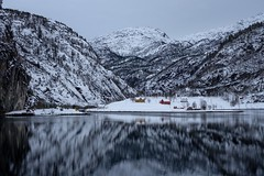 Mostraumen (Wouter de Bruijn) Tags: fujifilm xt2 fujinonxf35mmf14r fjord water reflection reflections snow mountain mountains cold winter weather house building nature landscape mostraumen osterfjord bergen hordaland norway norge