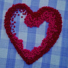 French Knot Heart (GATACA1952) Tags: embroidery handembroidery needlework fibreart frenchknots heart handmade red macro