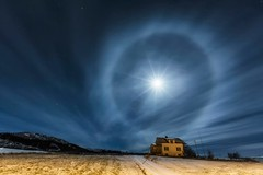 Winter Moon halo (yan08865) Tags: moon halo norway sky stars winter lofoten travel earth nature le night wide canon pavlis moonlight pics solo grass landscapes water photographers beauty rays sunset house building home lights