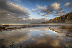 """"""" HOMEWARD """" (Wiffsmiff23) Tags: heritagecoastlinesouthwales southwales southerndown witchespoint reflections reflection golden gold traethmawr traeth beach"""