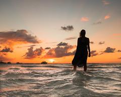 Silhouette in Sunset (jbrad1134) Tags: mexico travel island tropics islamujeres sunset ocean water silhouette shadows caribbean yucatan orange sky portrait wife