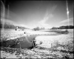 0094 2019 Fomapan100 (rubbernglue) Tags: watercourse pinhole filter blackwhite bwfp hc110 filmphotography analog analogue 4x5 analogexif bärby uppland sverige sweden 2019 redfilter filmexif 50mm f168 03mm flare snow