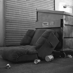 Laid Back, Laid Down, Laid Out. (Rev_Bushpig) Tags: mamiyarb67 6x6 graflexrh12 90mmsekorc ilfordpanf blackandwhite bw monochrome mamiya rb67 pros graflex mediumformat 120 kodakhc110 epsonv600 trash recliner chair