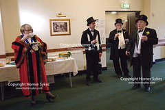 OLD NEWS YEARS DAY WASSAILING BODMIN CORNWALL (Homer Sykes) Tags: wassailers wassailing bodmin cornwall old newyearsday 2016 folklore custom january cornish 2010s tophat tailcoat elderly senior oap annualevent england britain uk british english townhall dignitaries robes mayor wassail
