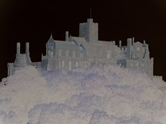 Negative View St Michael's Mount (Kevin Pendragon) Tags: negative stmichaelsmount cornwall autumn holidays outside outdoors bw national design beach water sky nature blue night white tree art light landscape trees sea blackandwhite structure windows perspective detail