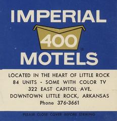 Imperial '400' Motel - Little Rock, Arkansas (The Cardboard America Archives) Tags: littlerock arkansas vintage matchbook matchcover
