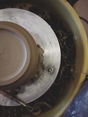 circles and circles (blakeboulka) Tags: shavings clay pottery ceramics trimming finishing wheel above pov tools carving making art
