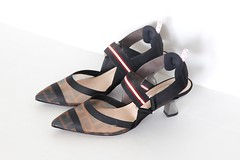 Fendi Colibri mesh kitten heels (shoesfetishperson) Tags: fendi heels darkgreen