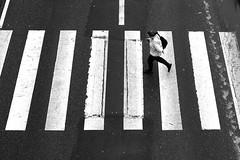 On bands (pascalcolin1) Tags: paris13 homme man bandes bands passage passagepiéton crosswalk blanc white photoderue streetview urbanarte noiretblanc blackandwhite photopascalcolin
