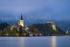 Bled & Long Exposure (Luís Henrique Boucault) Tags: alpine alps assumption background beautiful bled blue castle catholic church destination dusk europe european famous forest hill idyllic island julian lake landmark landscape maria mountain nature night outdoor panorama pilgrimage pond popular range red reflection romantic scene scenery scenic sky slovenia slovenian sunrise sunset tourism travel triglav view water winter