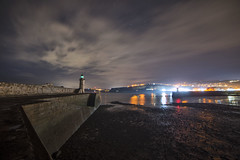 Whitehaven Harbour, Low Tide at Night (Nick Landells) Tags: lighthouse whitehaven pier harbour night stars starry moon cumbria lakedistrict lakelandphotowalks guided photo photography fell hill walk walks walking lowtide