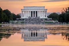 These Happy Days (dayman1776) Tags: lincoln memorial washington dc capital capitol classical neoclassical beautiful sunset orange gorgeous wallpaper abraham temple greek roman reflection reflecting national mall usa america american sony a6000 telephoto lens hdr