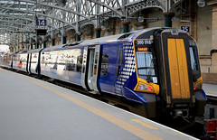 Scotrail train Glasgow (Dave Russell (1.5 million views thanks)) Tags: scotrail emu electrical multiple unit siemens class 380 3801 380018 018 desiro abelio glasgow central station platform scotland terminal terminus train rail railway railroad vehicle public passenger transport car carriage canon eos eos700d 700d