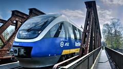 NordWestBahn {EXPLORE] (lutzmarl) Tags: blau bahn nordwest eisenbahn lok triebwagen bücke eisenbahnbrücke stahl konstruktion statik fahrrad nikon d7000 sigma 1770