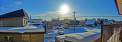 View After the Blizzard 2 (sjrankin) Tags: 21january2019 edited panorama sky sun weather clouds snow houses wires lines neighborhood balcony kitahiroshima hokkaido japan hdr 1558mb large
