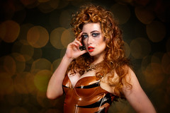 Sinopa Rin (rmk2112rmk) Tags: sinopa rin model redhead beauty latex catsuit tiger bokeh portrait