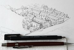 Suffolk coastal scene (WiP 3): Fish processing and cottages