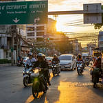 Sunset in Bangkok, Thailand with Reflection on the Street thumbnail