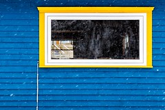 Through the Window (Karen_Chappell) Tags: window snow snowy snowing weather blue yellow white paint painted wood wooden trim building architecture clapboard pettyharbour newfoundland nfld canada avalonpeninsula atlanticcanada eastcoast winter reflection shed cafe canonef24105mmf4lisusm