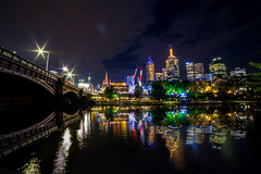 Night Symmetry (Jared Beaney) Tags: canon6d canon australia australian victoria travel photography photographer melbourne city cityscapes yarrariver reflections reflection night lights