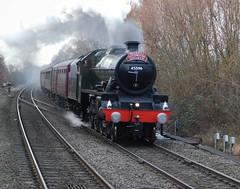 Back for her loaded test run! (The Walsall Spotter) Tags: lms coleshillparkwaystation warwickshire steamlocomotive jubilee 45596 bahamas namedlocomotive tyseley humberstoneroad