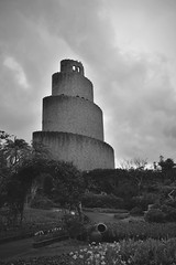 Garden Spire (D. Lade-something) Tags: flowers garden brick d3400 nikon monochrome blackandwhite japan okinawa architecture spire tower
