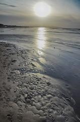 Hoylake footprints and sunset (jimmedia) Tags: hoylake beach coast sunset hilbre wirral coastline mersey sea coastal foot prints footprint