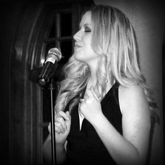 "Lead Vocalist for Group ""Amsterdam"" Performing at Aronimink Country Club (kinglear55) Tags: musician singer woman aronimink monochrome blackandwhite adobe elements art photograph blonde amsterdam band group panasonic lx7 streetrhythmseries"