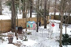 Back Yard Snow and Ornaments (hbickel) Tags: backyard snow ornaments trees oaktrees canont6i canon photoaday pad