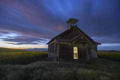 Ghost on the Prarie (benalesh1985) Tags: abandoned oregon landscape sunset columbia river gorge canola flowers prarie schoolhouse pacificnorthwest