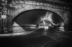 Bridge ECM7 3 Clavering Place (stblackburn) Tags: mono newcastle northeast nighttime bw street tunnel bridge