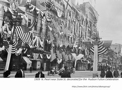 N. Pearl St. looking towards State decorated for the 1909 Hudson Fulton celebration (albany group archive) Tags: early 1900s old albany ny photograph picture photo vintage history historic historical waldmans clothing store home savings bank