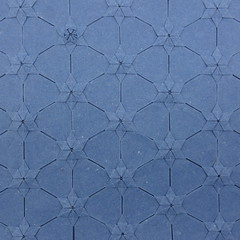 Lucky Star Tessellation + review of John Gerard's handmade abaca and flax paper (Michał Kosmulski) Tags: origami tessellation stars sky paper paperreview paperart michałkosmulski handmadepaper blue