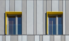 Yellow twins (jefvandenhoute) Tags: belgium belgië brussels brussel light lines shapes geometric wall windows yellow