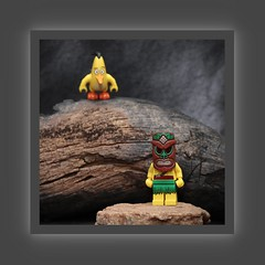 Masked Islander and an Angry Bird (N.the.Kudzu) Tags: tabletop toy lego minifigures islander angrybird canondslr meike 85mmf28 macro lens canon430ex flash photoscape frame home