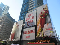 Shazam The Big Red Cheese Billboard 42nd St NYC 4346 (Brechtbug) Tags: shazam billboard 42nd street new captain marvel the big red cheese poster ad nyc 2019 times square movie billboards york city work working worker paint painting advertisement dc comic comics hero superhero alien dark knight bat adventure national periodicals publication book character near broadway shield s insignia blue forty second st fortysecond 03202019 lightning flight flying march