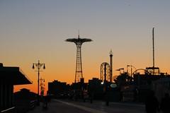 Last Evening on The Boardwalk (caboose_rodeo) Tags: 2995 brooklyn newyorkcity nyc boardwalk sunset skyline sky icons amusementpark spring