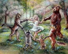 Forest Revelry (Laurie Shanholtzer) Tags: dancinganimals kidsdecor childhood enchantedforest fantasy imagination laurieshanholtzer art girlwalldecor dancing forest friends
