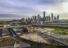 Houston Skyline - North Side 2 (Mabry Campbell) Tags: 609mainattexas chasetower harriscounty hines houston pickardchilton texas usa aerial architecture building buildings city downtown goldenhour image photo photograph skyline skyscraper tower f45 mabrycampbell march 2019 march172019 20190317aerialcampbelldji0889pano 88mm ¹⁄₃₂₀sec 100 24mm