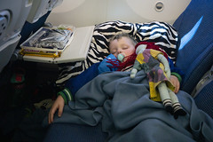 Comfortable Flight (evaxebra) Tags: poland polska vacation 2019 ash asleep sleeping pacifier sally plane airplane pillow breakfast prince polo