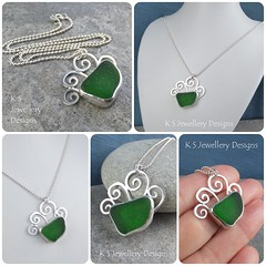 Green Sea Glass Swirl Waves Sterling Silver Pendant (KSJewelleryDesigns) Tags: metalwork flower pendant necklace jewellery jewelry handmade brightsilver shine sterlingsilver silverjewellery handcrafted silver silverwire metal hammered shiny polished bright soldered soldering brushed flowers petals sawing piercing silversmith silversmithing daisy daisies blooms blossom gemstone cabochon flowerpendant swirlblossom texture stamens organic wirework stonesetting seaglass greenglass glass