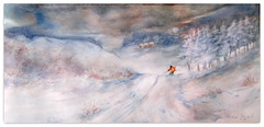 2019/ Watercolour: ...skiing home (Nadia Minic) Tags: snow winter landscape skiing skiinghome person wood trees atmospheric evening cold outside art watercolour nadiaminicartist luxembourg